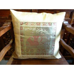 1 elephant cushion covers ecru brocade edge