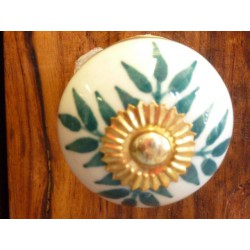 Porcelain buttons green flowers