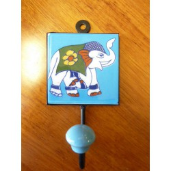 8x8 cm peg Elephant right blue-white