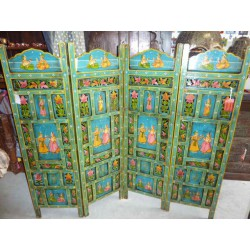 Screen headboard blue Mughal