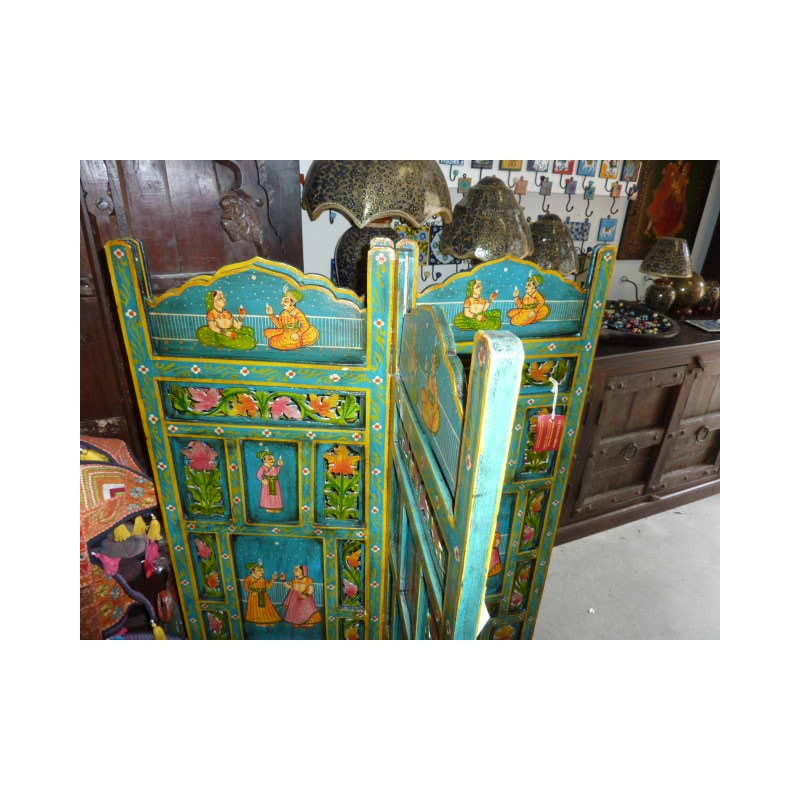 paravent t te de lit moghol bleu meubles indiens anciens. Black Bedroom Furniture Sets. Home Design Ideas