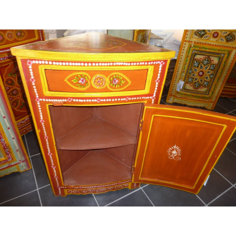 Meuble d 39 angle chevet peint orange losange meubles - Meubles indiens peints ...