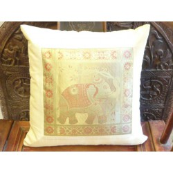 Cushion cover 1 elephant ecru bord taffetas