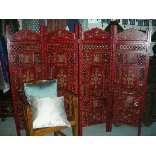 paravent t te de lit relief fleur rouge. Black Bedroom Furniture Sets. Home Design Ideas