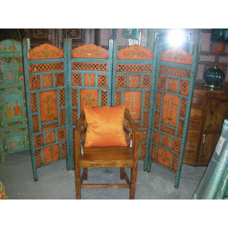 paravent t te de lit embossed orange bleu. Black Bedroom Furniture Sets. Home Design Ideas