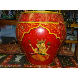 water jar hand painting Ganesh red