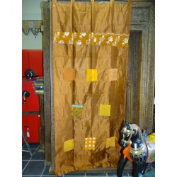 brown taffeta curtains with patchwork