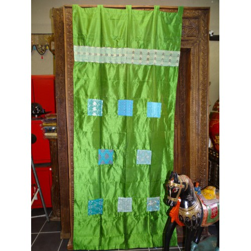 Taffeta curtains with green patchwork