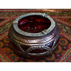 Ashtray glass and metal Red