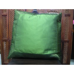 cushion cover 60x60 dark  green taffetas border brocade