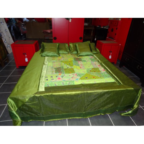 green bed set with patchwork