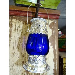 Table Lantern dark blue candle.