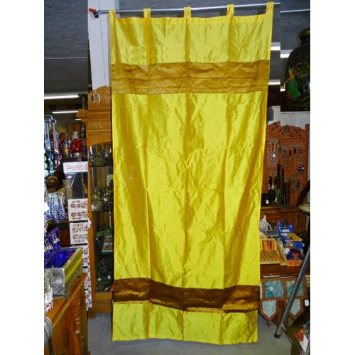 Taffeta curtains with double brocade - yellow