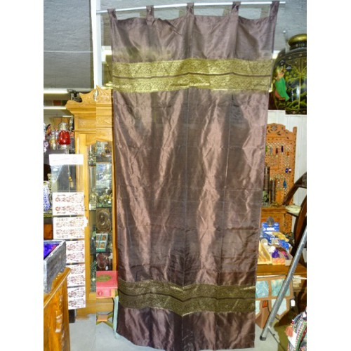 Taffeta Curtains With Double Brocade   Purple