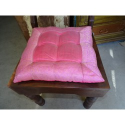 Galette de chaise bords en brocard rose