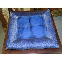Chair cushions with edges brocade turquoise