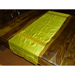 Table runner yellow brocade edge