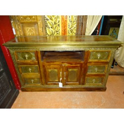 furniture low flat TV rosewood/brass