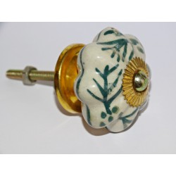 Porcelain handle pumpkin green ferns