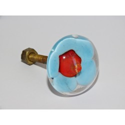 Furniture handle Transparent turquoise flower