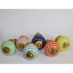 Set of 6 porcelain buttons with stripes - Lot 44