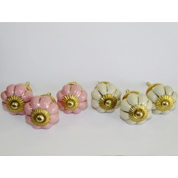 Set of 6 pumpkin buttons 32 mm 3 roses and 3 beige