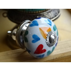 Porcelain drawer handle multicolored hearts