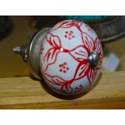 Porcelain drawer handle red star anise
