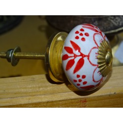 Porcelain drawer handle red flower and 4 foliage