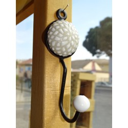 round porcelain coat rack with white sunflower flower