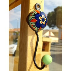 green ceramic round coat hook with blue ultramarine flower