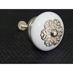 White porcelain handle with metal flake ornament