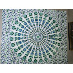 Cotton wall hanging with stained glass and cashmeer green and blue