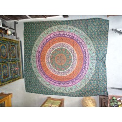 Cotton wall hanging or bedspread with purple and orange flower mandala