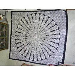 Cotton wall hanging or bedspread with a big hand KHAMSA