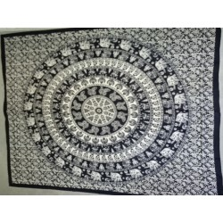 Cotton wall hanging or bedspread with black and white mandala