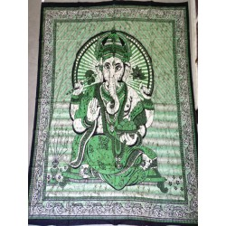 Cotton wall hanging or bedspread with brown Ganesh