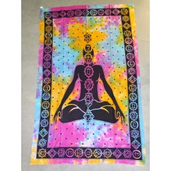 Cotton wall hanging or yoga mat with 7 purple chakra