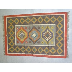 Hand-woven Dhurrie rug  120 x 200 cm - 3