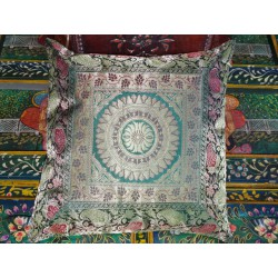 Mandala cushion cover dark green brocade edge - 2
