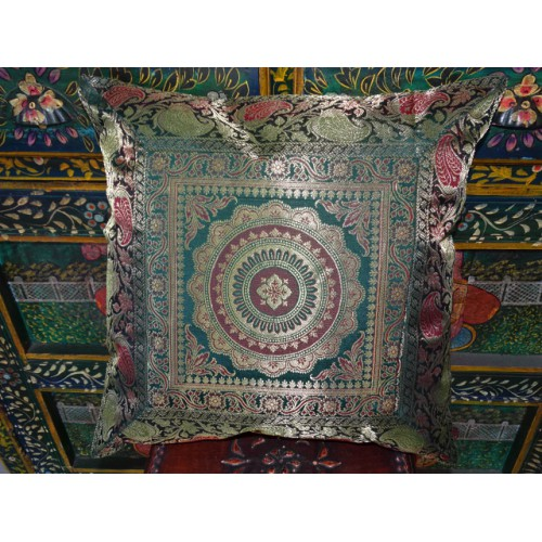 Mandala cushion cover dark green brocade edge - 3