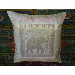 Blue cushion cover with 4 elephants and brocade edge