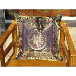 Dark blue mandala cushion cover