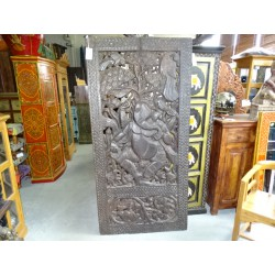 Large carved moucharabieh panel with the effigy of GANESH