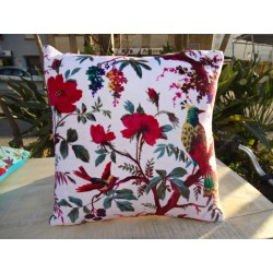 Cushion covers 40x40 cm in white velvet with bird of paradise