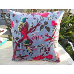 Cushion covers 40x40 cm in gray velvet with bird of paradise