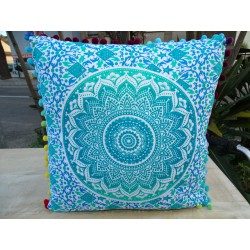 Cushion covers 40x40 cm in green and blue color with pompoms