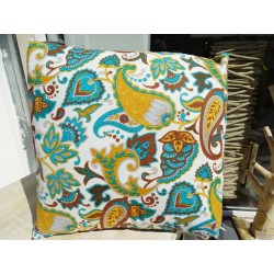 Cushion in 40X40 cm with kashmeer chocolate turquoise and beige