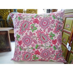 Pillow cover 60X60 cm printed with pink and gray flowers