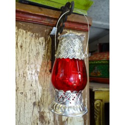Lanterne de table photophore rouge